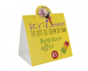 Table Sign 93 x 148 mm with full colour print
