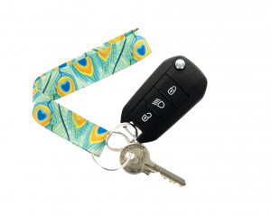 Fabric Keychain with full colour print and keys attached to key ring