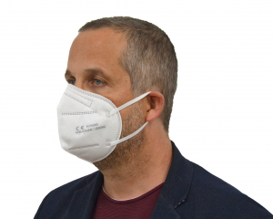 Man wearing a white KN95 Face Mask