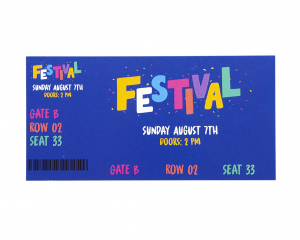 Admission Ticket 140 x 70 mm with full colour print