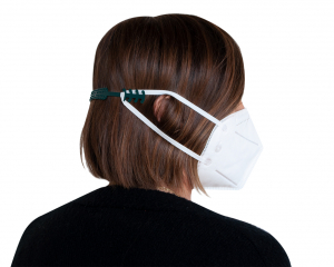 Green Ear Saver made from recycled fishing nets attached to Face Mask
