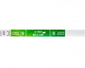 Weißes abfallfreies Tyvek-Armband 19 mm mit Vollfarbdruck