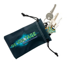 Printed Drawstring Pouch with a length of 130 mm to store keys