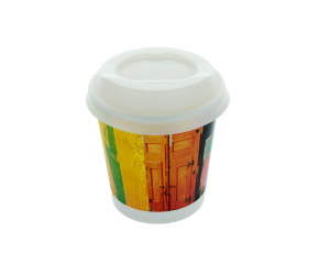 Recyclable Paper Cup 100 ml with full colour print and white Lid
