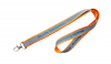 Orange polyester Lanyard with reflective strip with 1 colour print