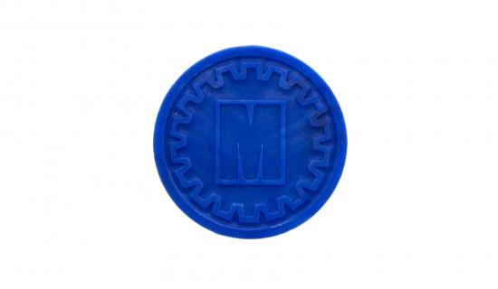 Ficha biodegradable redonda azul oscuro con grabado