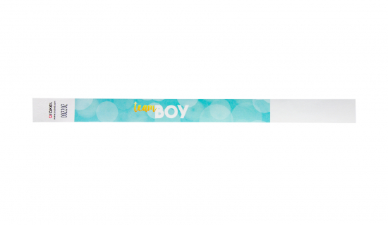 Tyvek Wristband with pre-printed gender reveal party design