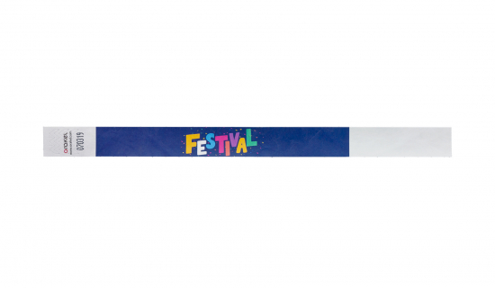 White Tyvek Wristband 19 mm with full colour print