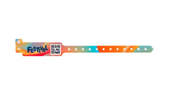Bracelet  vinyle partie élargie avec impression en couleurs et QR code