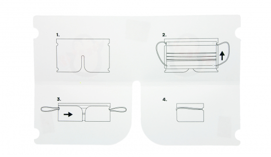 Foldable Mask Keeper with instructions on the inside how to fold it