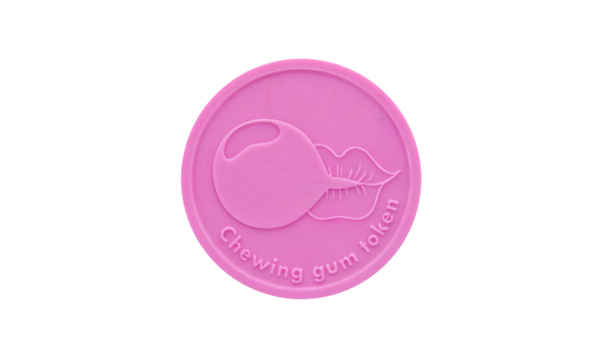 Pink Chewing Gum Token 29 mm round with engraving