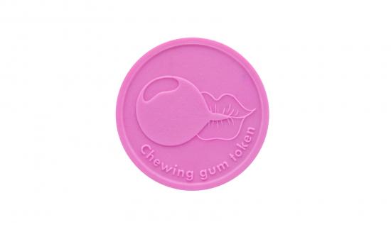 Ficha de pastilha elástica rosa de 29 mm redonda com gravação