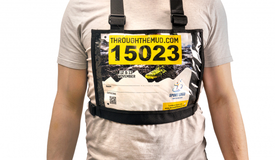 Black Number Bib Holder with Running Bib