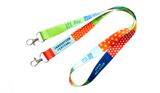 R-PET Lanyard 20 mm width with full colour print and double hooks