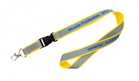 Yellow polyester Lanyard with reflective strip with print and buckle