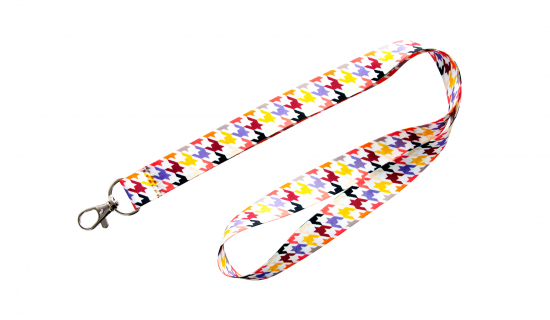 Satin Lanyard from Stock with standard design 1 and luxury hook