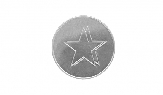 Silver round Aluminium Token with engraving