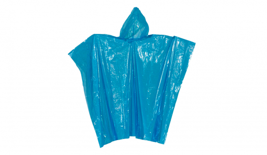 Blue disposable Rain Poncho without print
