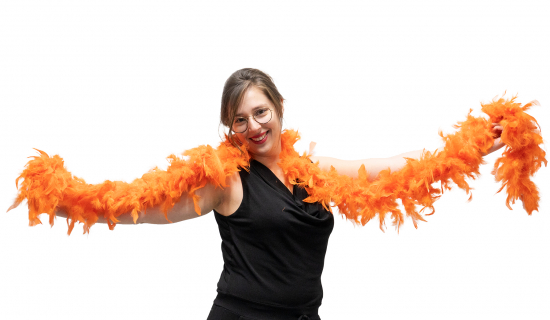 Orange Feather Boa worn by a woman