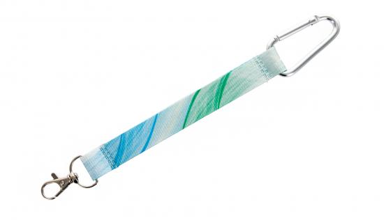 Portachiavi tessile R-PET stampa in quadricromiagancio lusso carabina