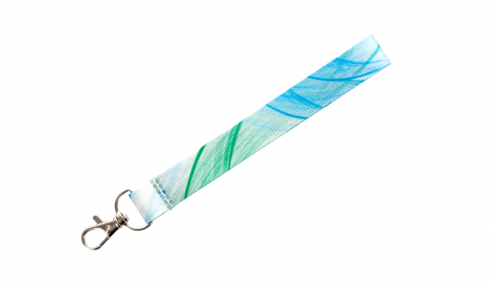 R-PET ribbon Fabric Keychain with full colour print and luxury hook