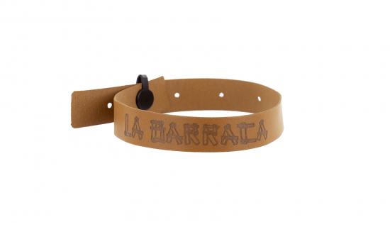 Brown Faux Leather Wristband with engraving and plastic clip closure