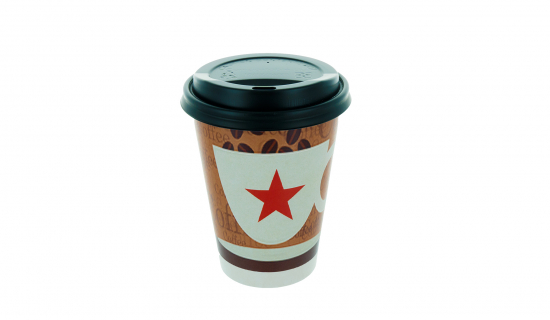 Recyclable Paper Cup 350 ml with full colour print and black Lid