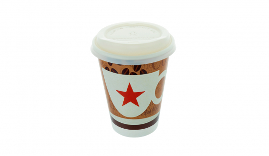 Recyclable Paper Cup 350 ml with full colour print and white Lid