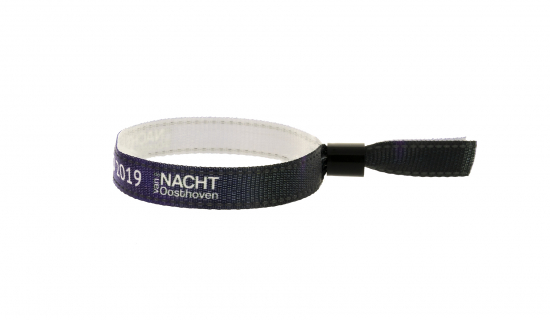 Fabric Wristband with reflective stitching with black plastic closure