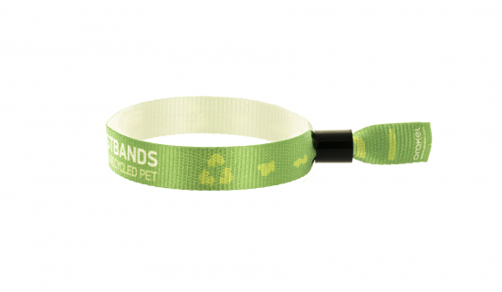 Printed Fabric Wristband in R-PET ribbon with plastic tube closure