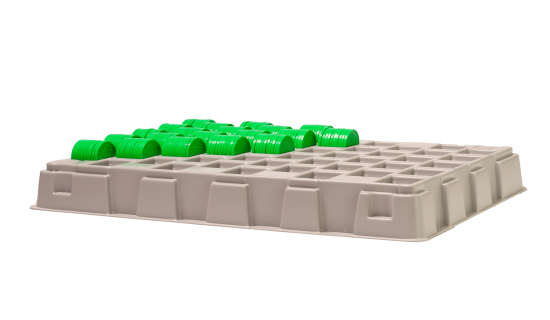 Grey Counting Tray for 23,3, 25 and 29 mm tokens filled with tokens