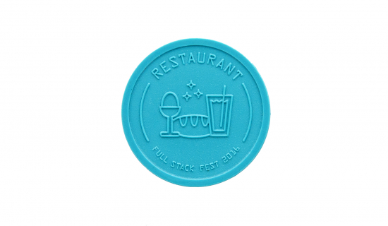 Turquoise Recycled Plastic Token 29 mm round with engraving