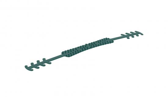 Grüner Ohrenschoner aus recycelten Fischernetzen mit kleinen Noppen