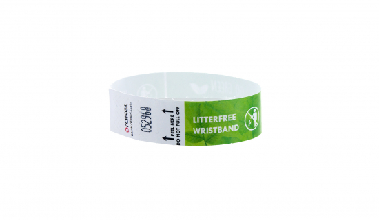 Closed white Litter-free Tyvek Wristband 19 mm with full colour print