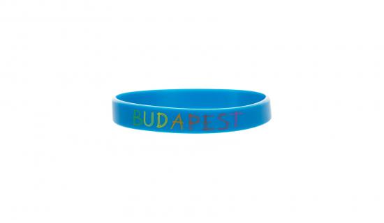 Pulseira de silicone azul para adultos com impressão a cores CMYK
