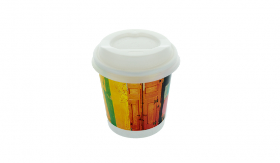 Recycelbarer Pappbecher 100 ml mit Vollfarbdruck und weißem Deckel