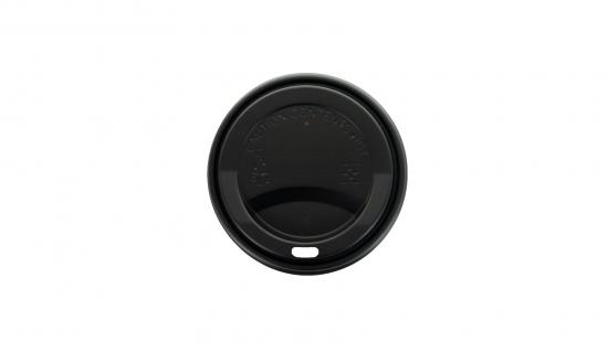 Tapa negra de 90 mm para vasos de cartón de 350 ml de capacidad